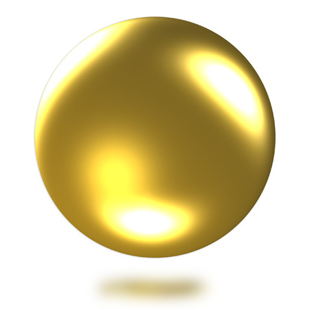 Golden ball 3D rendering on white background.(with Clipping Path).
