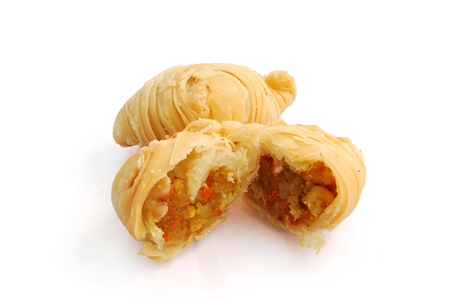 Curry puff coil on white background.(with Clipping Path).