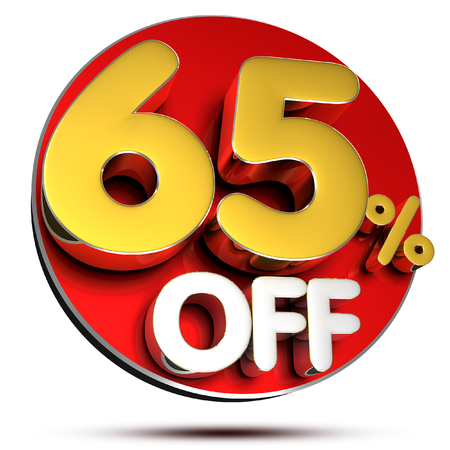 65 percent off 3D rendering on white background.with Clipping Path.
