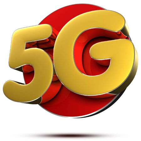 5G Gold 3D rendering on white background.(with Clipping Path).