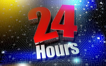24 hours 3d rendering of the future. Stok Fotoğraf