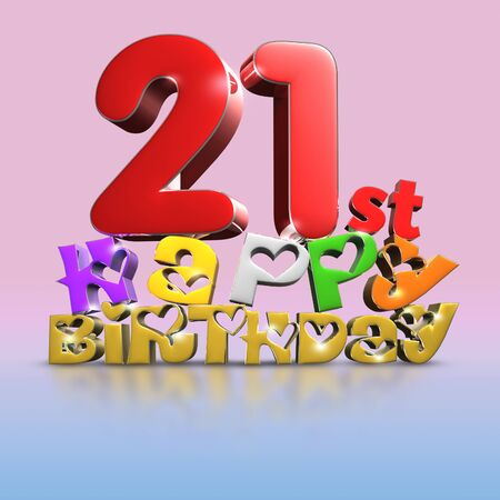 21 st Happy Birthday 3d on a creamy pink tone background.(with Clipping Path).