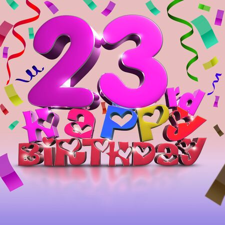 23 rd Happy Birthday 3d rendering Ribbon as background.(with Clipping Path). Stock fotó