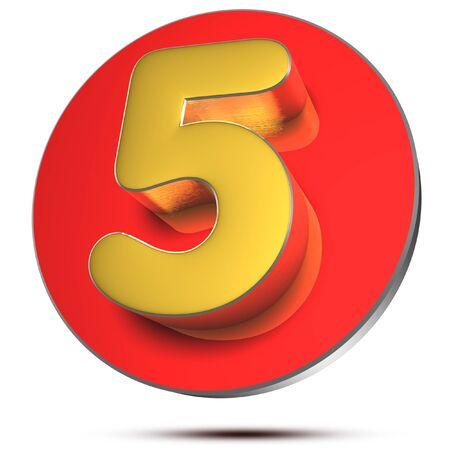 Numbers 5 3d rendering on white background.(with Clipping Path). Stock fotó