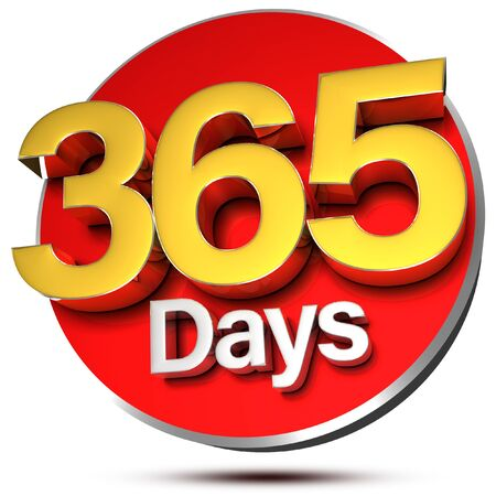 365 Days 3d rendering on white background.(with Clipping Path).