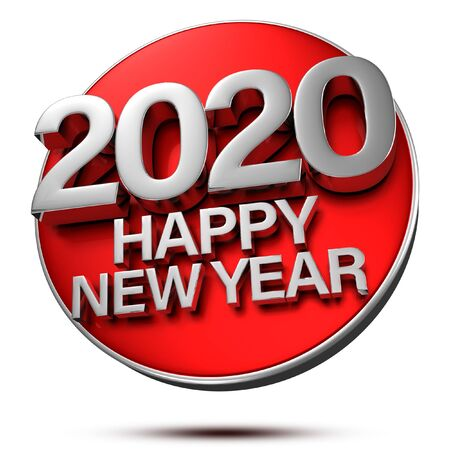 Happy New Year 2020 3D rendering is placed on a red circle. 写真素材