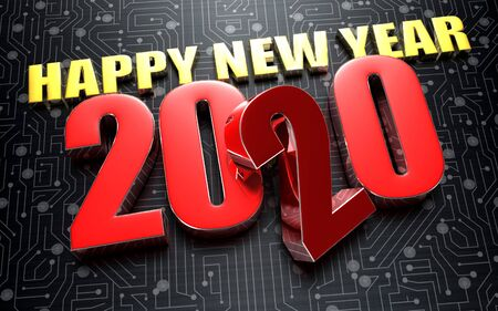 2020 Happy New Year 3D rendering placed on the black electronic circuit. 写真素材
