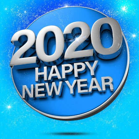 2020 3d rendering on a sparkling blue background.