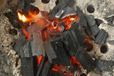 Ancient fire by using charcoal from wood.