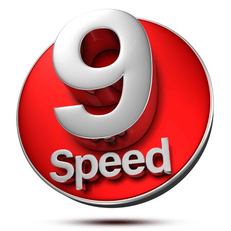 9 Speed 3d rendering on white background