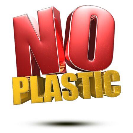 No Plastic 3d illustration on white background. Reklamní fotografie
