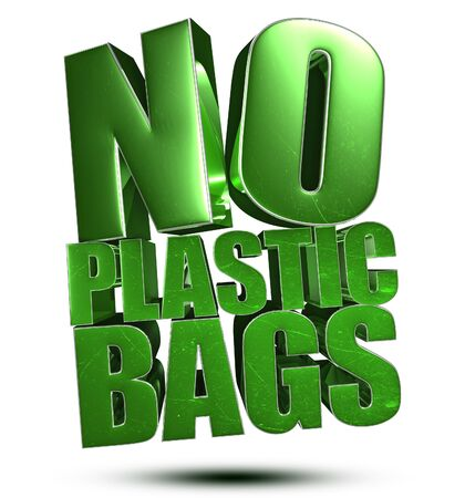 No Plastic Bags 3d illustration on white background.
