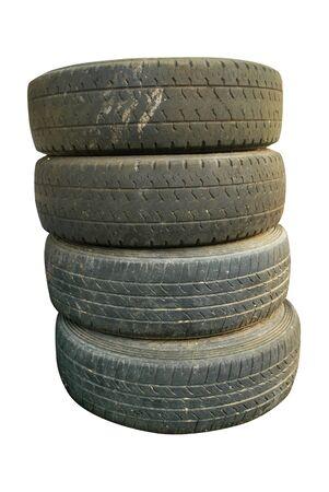 4 black tires, no tread on white background. Standard-Bild - 134672289