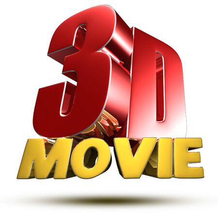 Movie 3d illustration on white background.