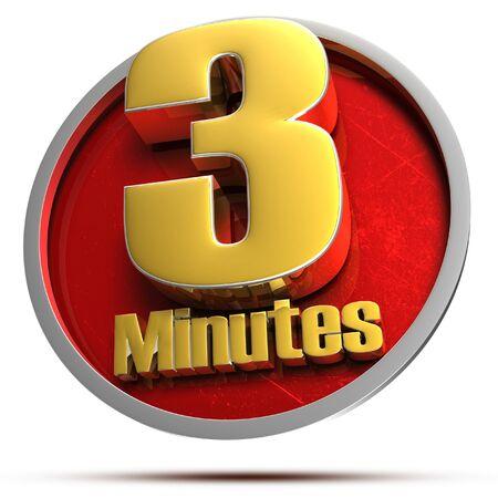 3 minutes Gold 3d illustration on white background.