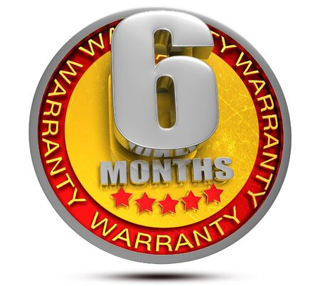 6 Months Warranty 3d illustration on white background. Stockfoto
