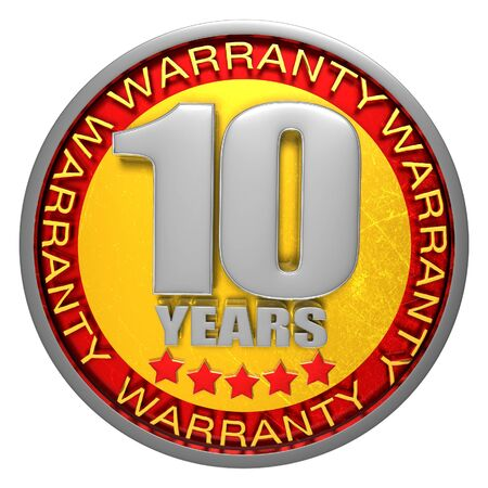 10 Years Warranty 3d illustration on white background.