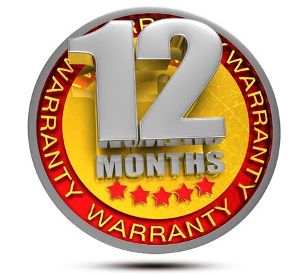 12 Month Warranty 3d illustration on white background. Stockfoto
