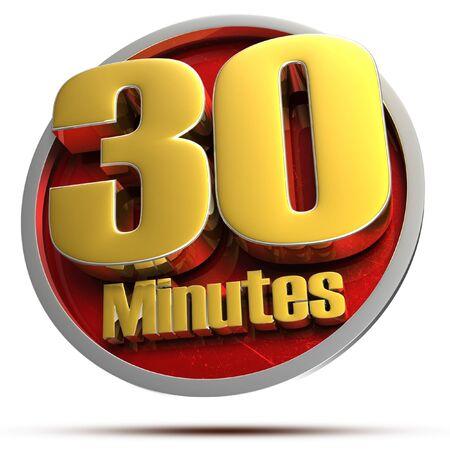 30 minutes Gold 3d illustration on white background.