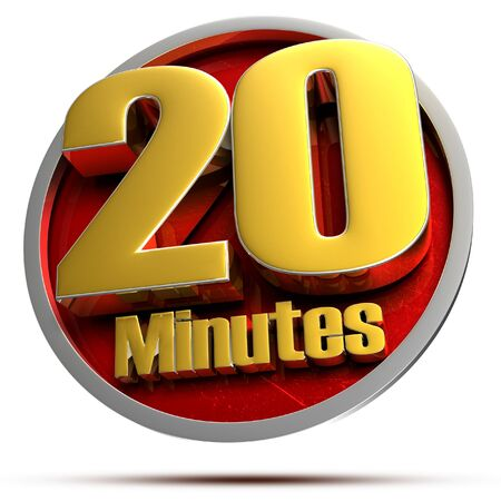 20 minutes Gold 3d illustration on white background.