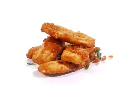Fried bananas, famous snacks in Thailand on a white background.