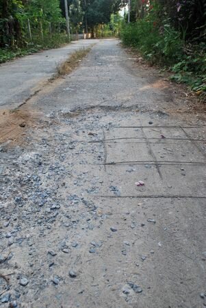 Dilapidated concrete road Danger to road users.