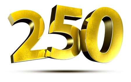 3D illustration Numbers 250 Gold isolated on a white background. Stock fotó