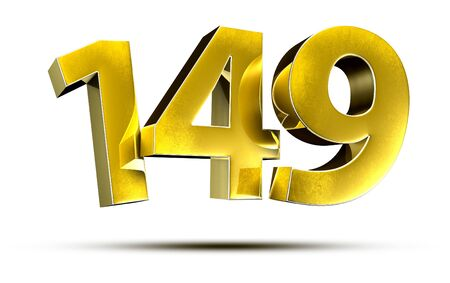 3D illustration Numbers 149 Gold isolated on a white background. Stock fotó