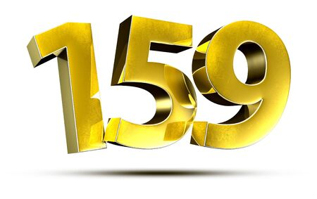 3D illustration Numbers 159 Gold isolated on a white background.