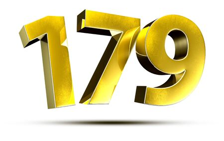 3D illustration Numbers 179 Gold isolated on a white background.
