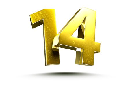 3D illustration Golden number 14 isolated on a white background.(with Clipping Path). Stock fotó