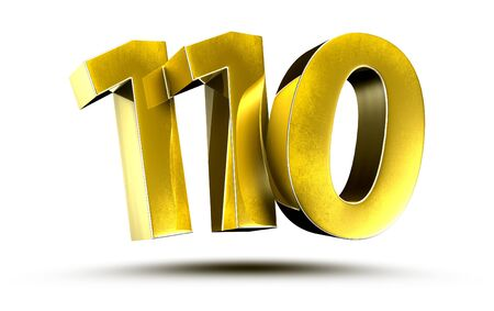 3D illustration Numbers 110 Gold isolated on a white background.(with Clipping Path)