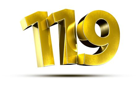 3D illustration Numbers 119 Gold isolated on a white background.(with Clipping Path)