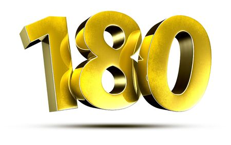 3D illustration Numbers 180 Gold isolated on a white background.(with Clipping Path)
