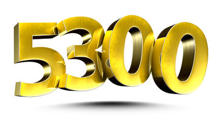 3D illustration Golden number 5300 isolated on a white background.