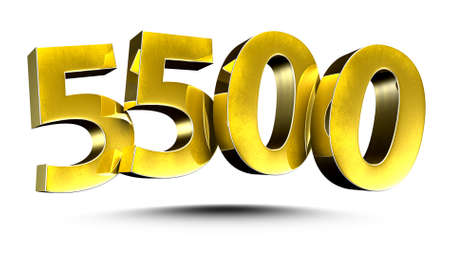 3D illustration Golden number 5500 isolated on a white background. Stock fotó