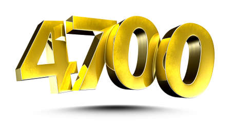 3D illustration Golden number 4700 isolated on a white background.