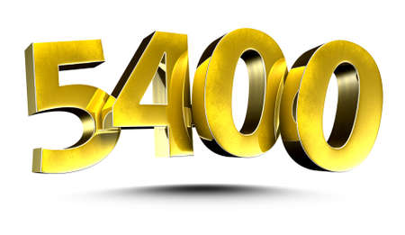 3D illustration Golden number 5400 isolated on a white background.