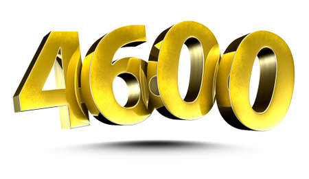 3D illustration Golden number 4600 isolated on a white background.