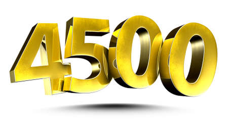 3D illustration Golden number 4500 isolated on a white background.