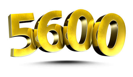 3D illustration Golden number 5600 isolated on a white background. Stock fotó