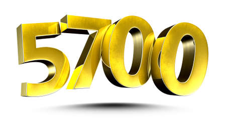 3D illustration Golden number 5700 isolated on a white background.
