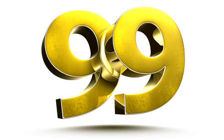 Gold numbers 99 isolated on white background illustration 3D rendering