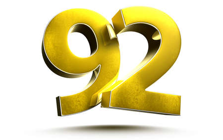 Gold numbers 92 isolated on white background illustration 3D rendering Stock fotó