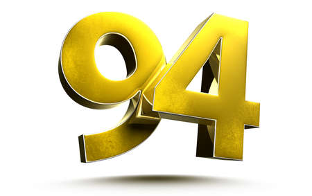 Gold numbers 94 isolated on white background illustration 3D rendering
