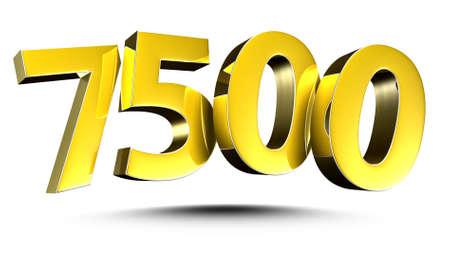Number 7500 gold 3D illustration on white background