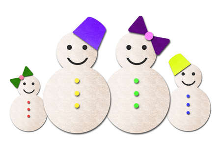 snowman family isolated on white