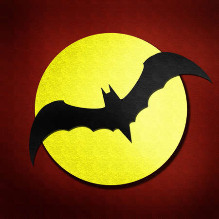 bat and moon watercolor isolated on paper Stock Photo