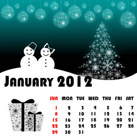 New year calendar 2012 January Stock Photo - 11234179