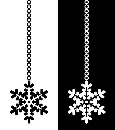 snow flake isolated on black and white photo